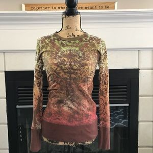 Tops - Beautiful brown burn out long sleeve t